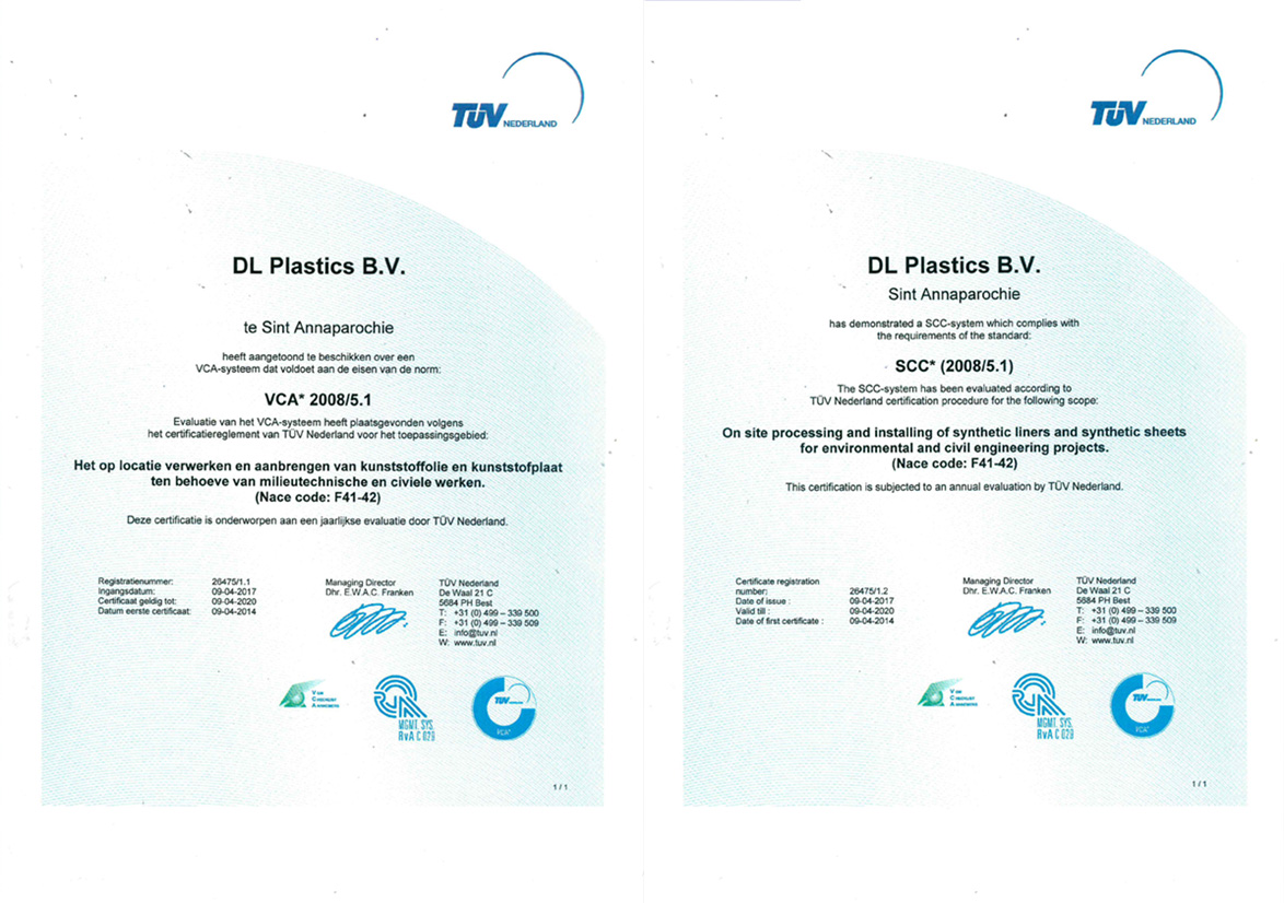 Dl plastics certification de norm vca 200851 on site processing and installing of synthetic liners and synthetic sheets for environmental and civil engineerings projects 1betcityfo Gallery